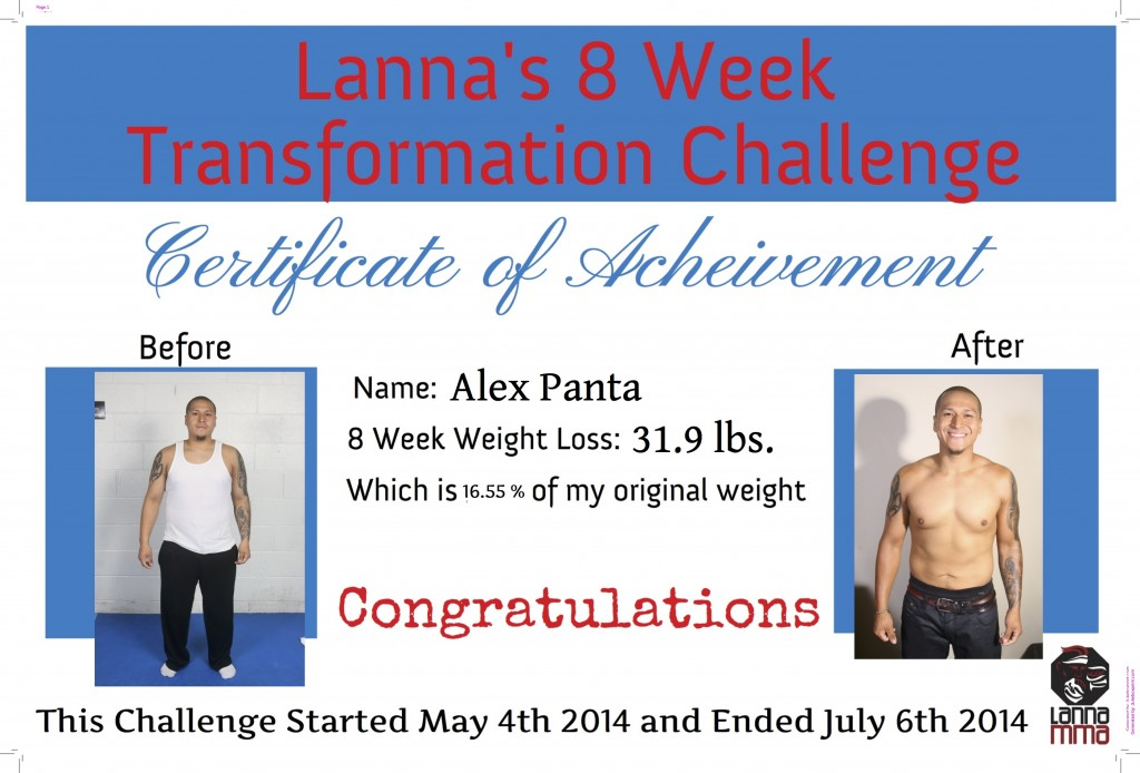 Lanna MMA 8 week challenge winner